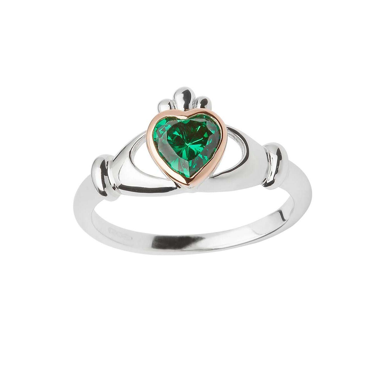 Green Stone Claddagh Ring